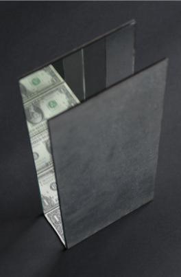 One million dollars, 2002, billete y espejos, 25x7x16 cm