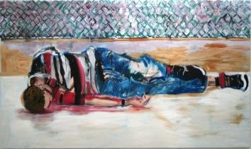 Tumba de sueño I, 2008/09, óleo sobre lienzo, 146 x 243 cm.